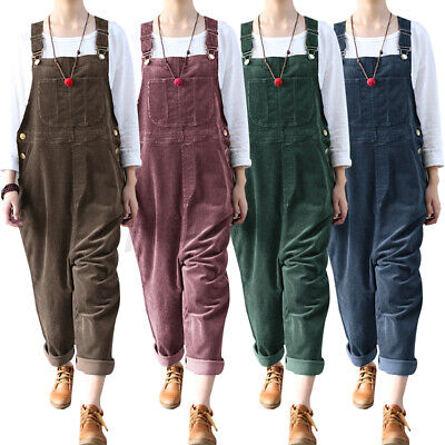 £13.61 • Buy 2021 Womens Corduroy Dungaree Jumpsuits Playsuits Casual Loose Long Pants Plus