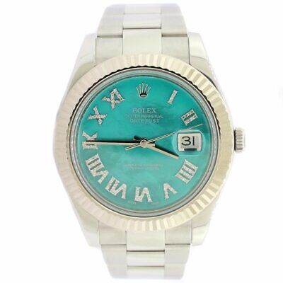 $ CDN13769.26 • Buy Rolex Datejust II 41MM Oyster Watch W/Royal Turquoise MOP Diamond Dial 116334