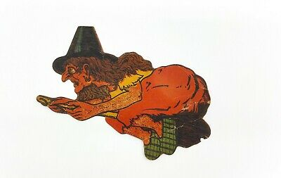 $ CDN63.58 • Buy Vintage Halloween Witch On Broom Cardboard Die Cut 1920s - 1930s