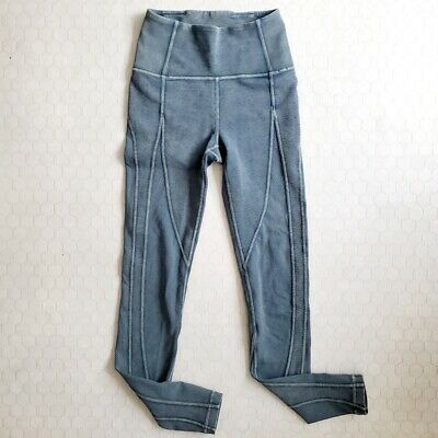 $ CDN93.86 • Buy Lululemon Size 2 Wunder Under High Rise Tight Leggings Ribbed Distressed Blue