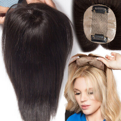 £29.54 • Buy Clip In 100% Remy Human Hair Top Topper Toupee Piece Hairpiece Mono Wig Women UK