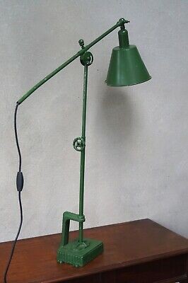 Large Industrial Factory Lamp Vintage Angle Poise Light Stretches To 4ft High  • 345£