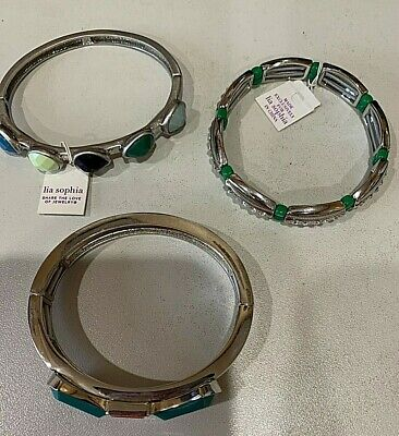 $ CDN31.83 • Buy LOT 3 Silver Turquoise Stretch Bangle Bracelets LIA SOPHIA 2 New With Tags