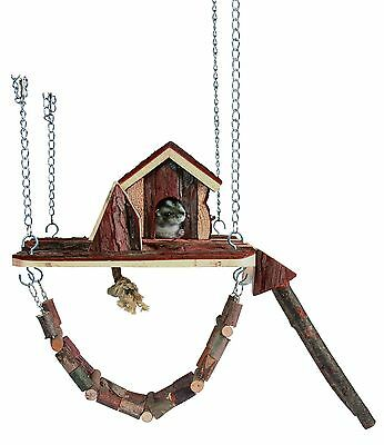 Trixie Playground Janne Rodents Mouse Dwarf Hamster House Ladder Suspension Wood • 15.99£