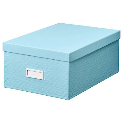 Ikea Pallra 35cm Blue Storage Box With Lid Desk Organiser File Office Home Chest • 7.99£