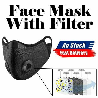 AU13.49 • Buy Face Mask Reusable Washable Anti Pollution PM2.5 Two Air Vent With 2 Filter