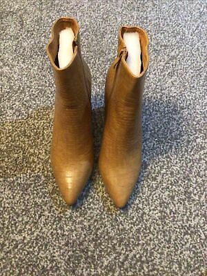 Nude Pointed Croc Heeled Ankle Boots Size 6 • 11£