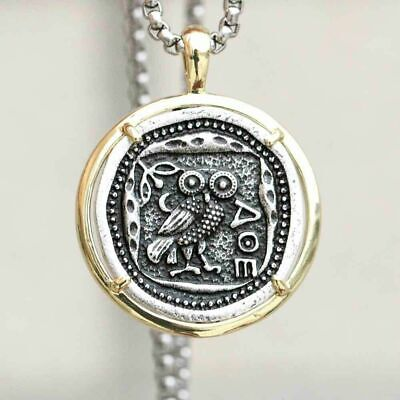 £12 • Buy Vintage Coin Greek Necklace Owl Of Athena Phoenix Pendant Greece Chain Gold Ring