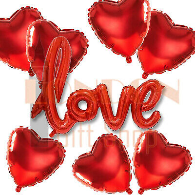 Valentine's Day Red Heart Love Foil Helium Balloons Wedding Engagement Party UK • 2.99£
