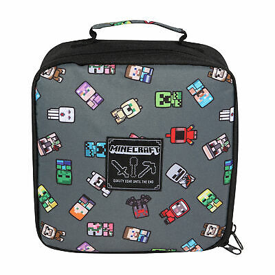 Boys Minecraft Lunch Box Mini Characters Official Merchandise Grey One Size • 15.73£