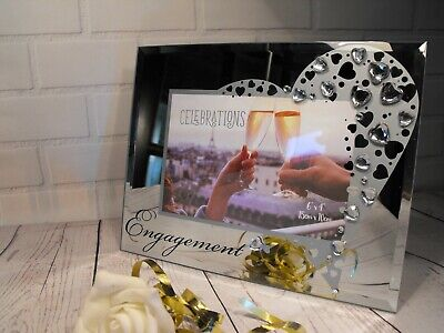 Engagement Gift Present  Photo Frame Mirror Glass Hearts Engaged Couple Gift New • 10.95£