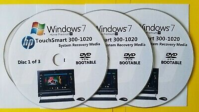 £12.75 • Buy HP TouchSmart 300-1020 Factory Recovery Media 3-Discs / Windows 7 Home 64-bit
