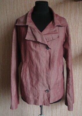 £40.01 • Buy ANNETTE GORTZ Double Breasted Cotton Linen Pale Red Jacket Size 40 / US 10
