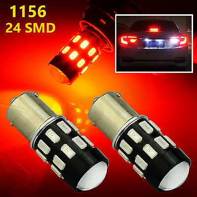$10.49 • Buy 2x Red 1156 24SMD LED Brake Stop Tail Sidemarker Lights Bulbs With Projector Len