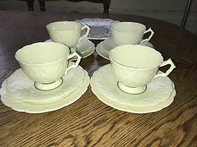 Vintage Rare 1931 Aynsley Cabbage Leaf 765788 Pale Yellow & Green Part Tea Set • 75£