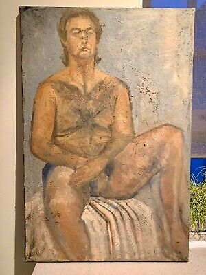 Vintage Male Nude Oil Canvas Mid Century Modernist Painting Original Art • 68£