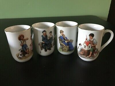 $ CDN50.49 • Buy Vintage Set Of 4 Norman Rockwell Mugs Coffee Cups Glasses / The Rockwell Museum