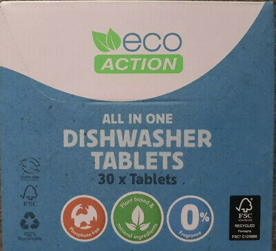 Eco Action - Eco / Environmentally Friendly Dishwasher Tablets X 60 • 6.50£