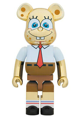 $1499 • Buy Bearbrick Spongebob Gold Chrome 1000% Medicom Toy Rare