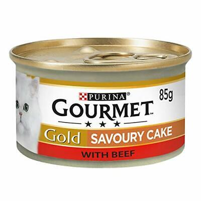 Gourmet Gold Wet Cat Food Savoury Cake Beef Can Adult, 85 G - Pack Of 12 • 7.29£