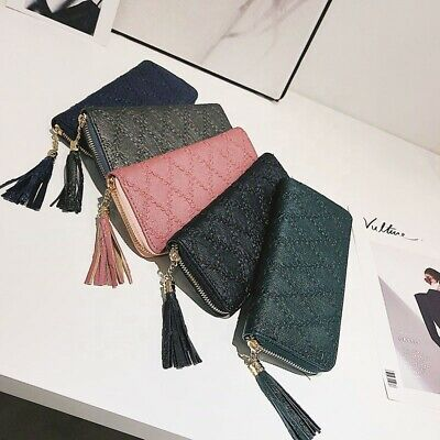 Womens Clutch Bag Ladies Leather Wallet Purse Handbag Phone Card Coin Zip Holder • 5.39£
