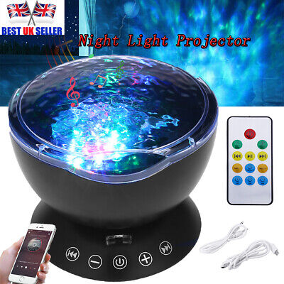 £13.79 • Buy Relax Ocean Wave Music LED Night Light Projector Remote Lamp Baby Sleep Gift UK