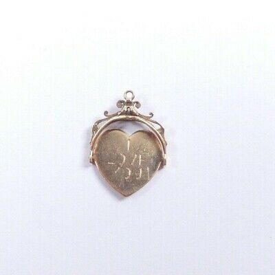 I Love You Spinner Fob 9 Carat Gold Vintage 3.0g Heart Shaped XL Size • 150£