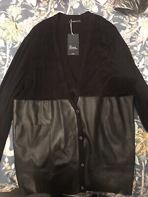 NEW With Tags Zara KNIT Black Long Cardigan Faux Leather PU Large 14 16 • 14.99£