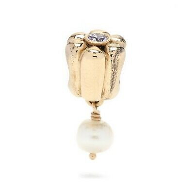Pandora 14K Yellow Gold Cubic Zirconia Pearl Dangle Charm • 307.55£
