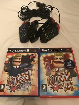 Playstation 2 PS2 Buzz! USB Wired Buzzers And 2 Games Bundle • 22.99£
