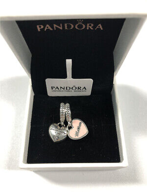 ALE S925 Genuine Silver Pandora Mother & Daughter Hearts Dangle Charm + Box • 17.99£