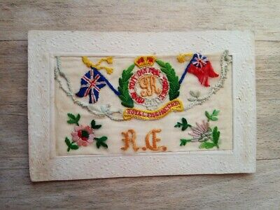 WW1 Silk Postcard RE Royal Engineers With Crest & Flags • 2.50£