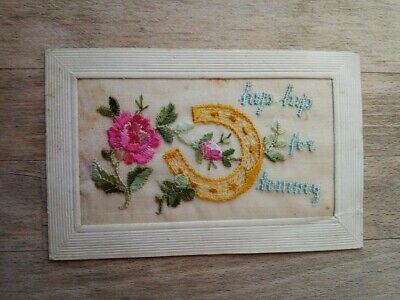 WW1 Silk Postcard Hip Hip For Tommy With Horseshoe & Flowers • 2.50£