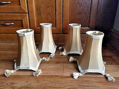 4 Vintage Harp Style Fitting Gold Silk Lined Lamp Shades • 39£