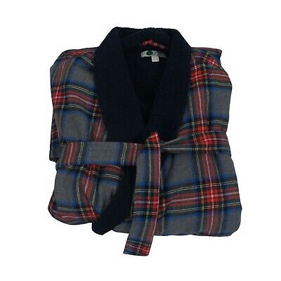 BODEN Brushed Cotton Dressing Gown Mens Long Robe Tartan Waist Ties Size M/L • 20£