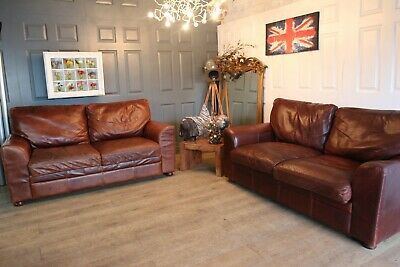 2 Halo Aniline Vintage Brown Leather Sofas John Lewis • 650£