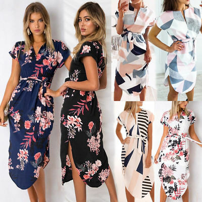 AU23.99 • Buy Womens  Boho Floral Party Wrap Mini Dress Holiday Asymmetric Summer Beach Dress