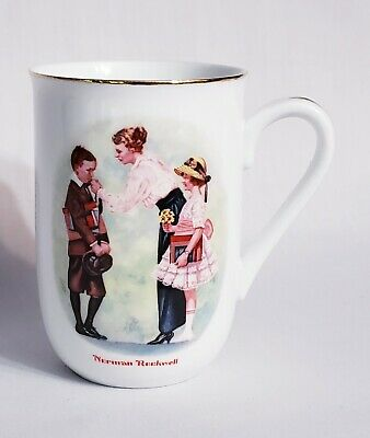 $ CDN10.15 • Buy Vintage 1986 Norman Rockwell The First Day Of School Coffee Mug Cup Gold Trim