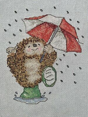 COMPLETED FINISHED CROSS STITCH PIECE - Hedgehog • 5£