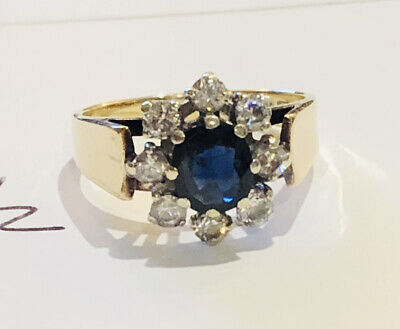Vintage 9ct Gold Ring With Large Central Sapphire & 8 Clear Crystals Size K1/2 • 80£
