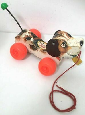 Vntg 60's Original Fisher Price Dog Pull Along Toy Little Snoopy Wood #693 S81 • 34.99£