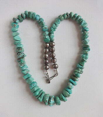 Native American Turquoise And Silver Bead Necklace  • 120£