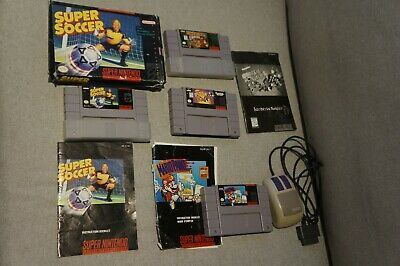 $ CDN60 • Buy Snes Super Nintendo Lot Of 4 Games Donkey Kong Country Soccer Mario Paint Mouse
