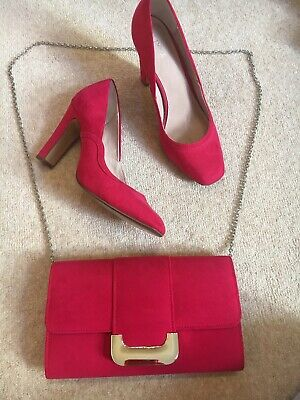 £45 • Buy Next Fuchsia Pink Magenta Suede Court Shoes & Bag Wedding Party Size 6 39