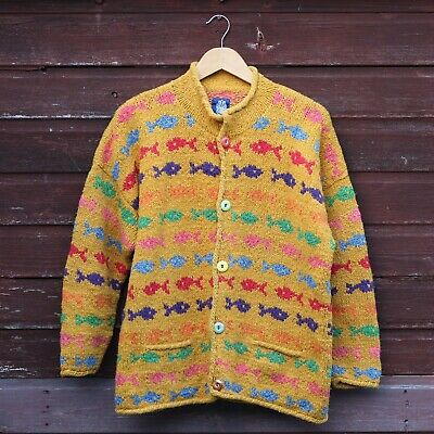 Amano Chunky Multi Coloured 100% Wool Fish Cardigan Jacket M/L Pachamama Style • 39£