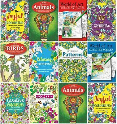 ADULT COLOURING BOOK BOOKS Mindfulness Anti-Stress ANIMALS RELAX WITH COLOUR • 2.75£