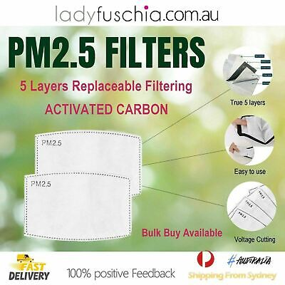 AU5.78 • Buy 10 X PM2.5 Five Layers Face Mask Filter Activated Carbon Anti Pollution Filters
