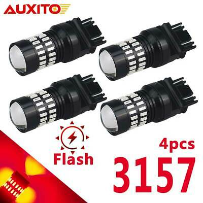 $24.99 • Buy 4x Projector 3157 3156 Strobe Blinking Flash Red LED Brake Stop Tail Light Bulbs