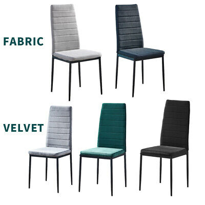 £75.99 • Buy 2/4/6× Dining Chairs Metal Legs High Back Padded Seat Dining Room Home Furniture