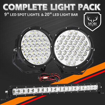 AU119.99 • Buy MOBI 59898LM 9inch Osram SPOT LED Driving Lights & Light Bar & Wiring Kit